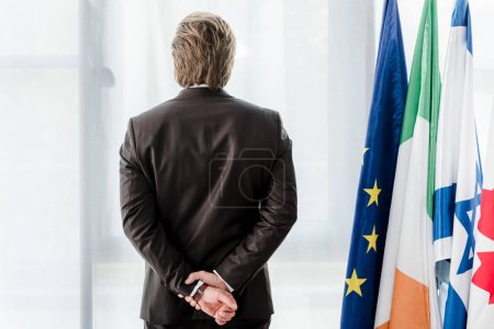 Photo for Back view of diplomat standing with clenched hands near flags - Royalty Free Image