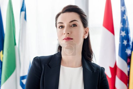 Photo for Attractive diplomat looking at camera near flags - Royalty Free Image