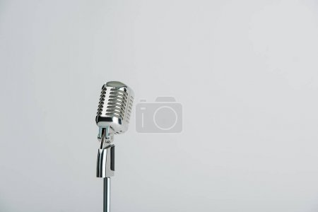 retro microphone isolated on grey with copy space