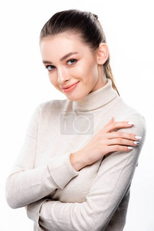 Photo for Attractive, smiling girl with natural makeup looking at camera isolated on white - Royalty Free Image