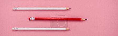 Photo for Panoramic shot of sharpened pencils isolated on pink - Royalty Free Image