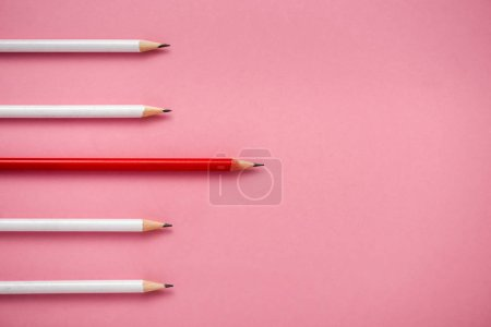 Photo for Top view of sharpened white and red pencils isolated on pink - Royalty Free Image