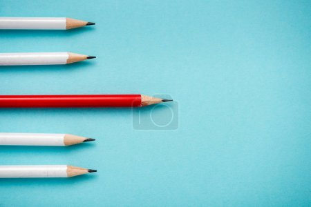Photo for Top view of sharpened pencils isolated on blue - Royalty Free Image