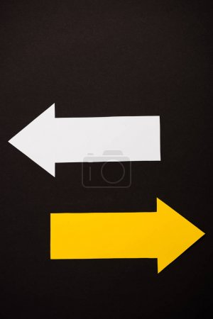 top view of directional arrows isolated on black