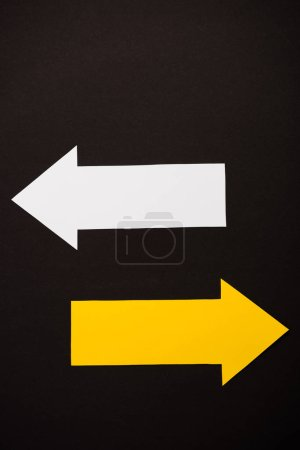 Photo for Top view of directional arrows isolated on black - Royalty Free Image
