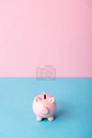 Photo for Piggy bank isolated on pink and blue with copy space - Royalty Free Image