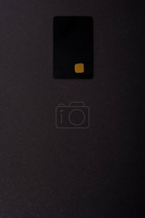 Photo for Top view of credit card template isolated on black - Royalty Free Image
