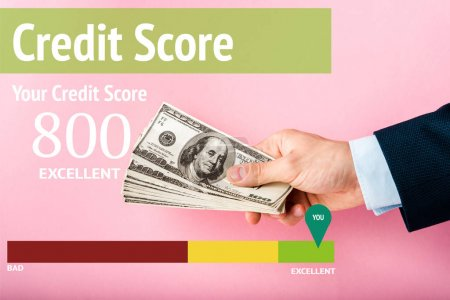 Photo for Cropped view of man holding dollar banknotes in hand near credit score letters on pink - Royalty Free Image