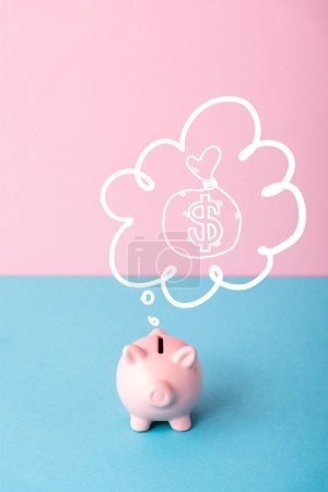 Photo pour Piggy bank near thought bubble with money bag on pink and blue - image libre de droit