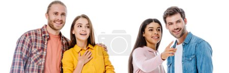 Photo for Happy multicultural friends talking and pointing with finger away isolated on white, panoramic shot - Royalty Free Image