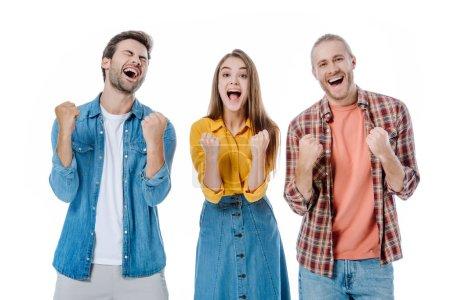 Photo pour Heureux jeunes amis montrant oui geste isolé sur blanc - image libre de droit