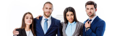 Photo for Smiling multicultural business people in suits hugging isolated on white, panoramic shot - Royalty Free Image