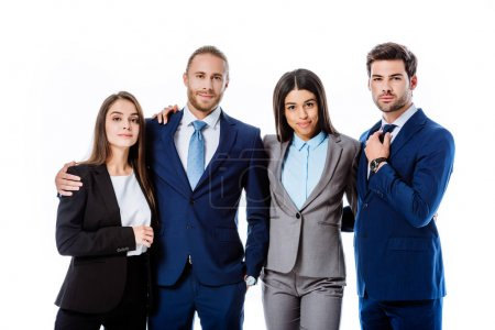 Photo for Smiling multicultural business people in suits hugging isolated on white - Royalty Free Image