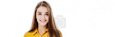 Photo pour Smiling attractive girl looking at camera isolated on white, panoramic shot - image libre de droit