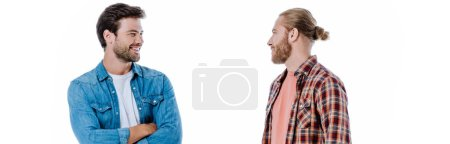 Photo for Happy friends looking at each other and speaking isolated on white, panoramic shot - Royalty Free Image