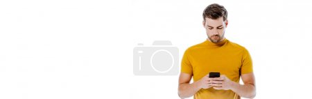 Photo for Handsome man using smartphone isolated on white, panoramic shot - Royalty Free Image