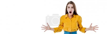 Photo pour Shocked attractive girl with open mouth isolated on white, panoramic shot - image libre de droit
