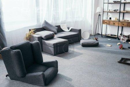Photo pour Canapé gris, plante, oreillers et fauteuil dans l'appartement volé - image libre de droit