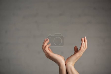 Photo for Cropped view of woman gesturing with hands on grey background - Royalty Free Image