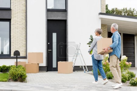 Photo pour Un homme adulte tenant une boîte et une femme tenant une usine près d'une nouvelle maison - image libre de droit