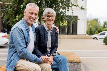 Photo pour Mature homme étreignant femme souriante et tenant la main - image libre de droit