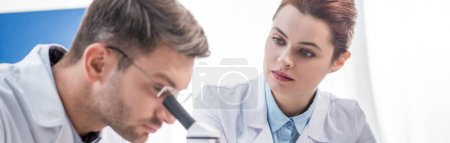 Photo for Panoramic shot of molecular nutritionist looking at his colleague with microscope - Royalty Free Image