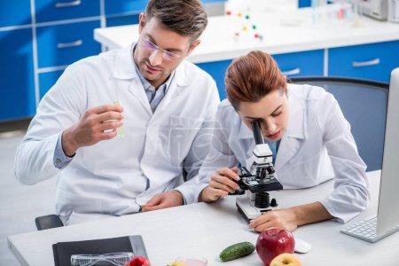 Photo pour Nutritionniste moléculaire utilisant un microscope et un collègue tenant une éprouvette - image libre de droit