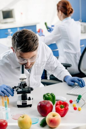 Photo pour Foyer sélectif du nutritionniste moléculaire en pelage blanc à l'aide d'un ordinateur en laboratoire - image libre de droit