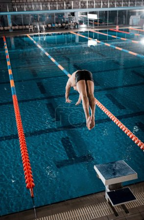 Photo for Sportsman diving into water in swimming pool - Royalty Free Image