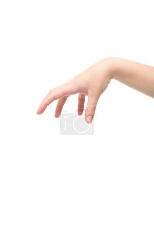 Photo pour Vue recadrée de la femme montrant le geste de maintien isolé sur blanc - image libre de droit