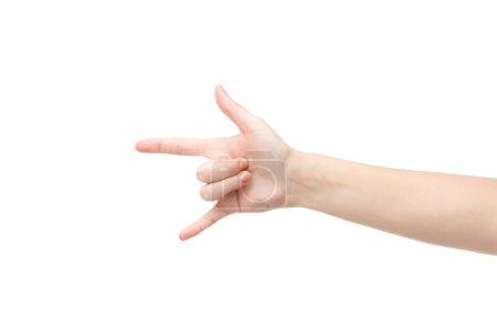 Photo pour Croquis d'une femme montrant un signe de roche isolé sur blanc - image libre de droit