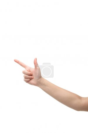 Photo for Cropped view of woman pointing with finger isolated on white - Royalty Free Image