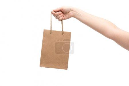 Photo pour Crochet vue d'une femme tenant son sac isolé sur blanc - image libre de droit