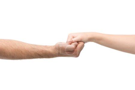 Photo pour Vue recadrée de la femme et l'homme tenant les mains isolées sur blanc - image libre de droit