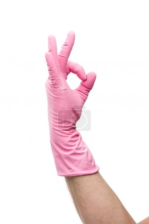 Photo for Cropped view of man in rubber glove showing ok gesture isolated on white - Royalty Free Image