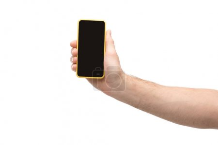 Photo for Cropped view of man holding smartphone isolated on white - Royalty Free Image