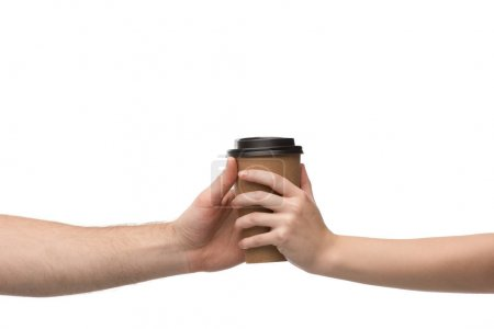Photo for Cropped view of woman and man holding paper cup isolated on white - Royalty Free Image