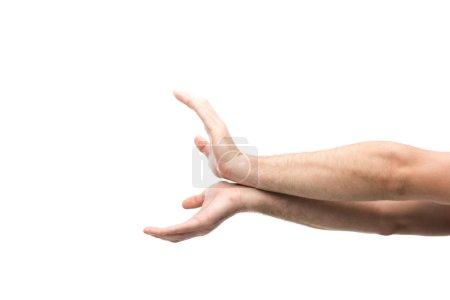 Photo pour Vue recadrée de l'homme montrant le geste de queue de poisson isolé sur blanc - image libre de droit