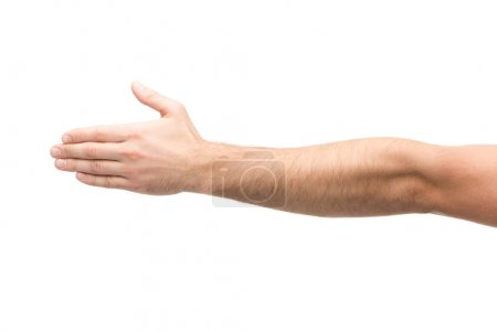 cropped view of man with outstretched hand isolated on white