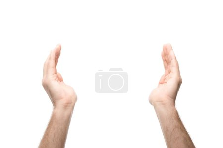 Photo pour Cropped view of man with outstretched hands isolated on white - image libre de droit