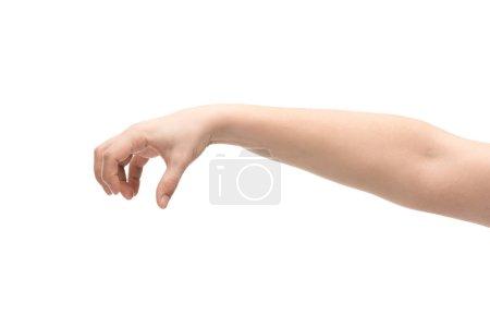 Photo pour Crochet vue d'une femme montrant un geste isolé sur blanc - image libre de droit