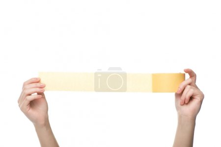 Photo for Cropped view of woman holding sticky tape isolated on white - Royalty Free Image