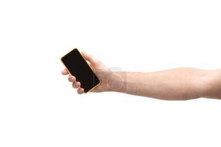 Photo pour Vue recadrée de l'homme tenant smartphone isolé sur blanc - image libre de droit