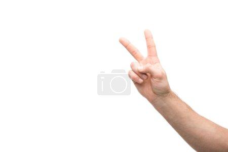 Photo pour Crochet vue d'un homme montrant un signe de paix isolé sur blanc - image libre de droit
