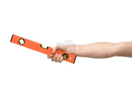 Photo pour Cropped view of man holding spirit level isolated on white - image libre de droit