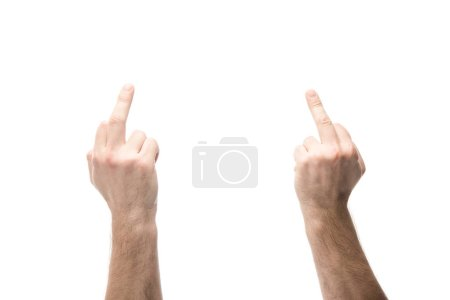 Photo for Cropped view of man showing middle fingers isolated on white - Royalty Free Image