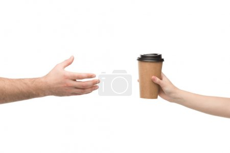 Photo for Cropped view of woman giving paper cup to man isolated on white - Royalty Free Image