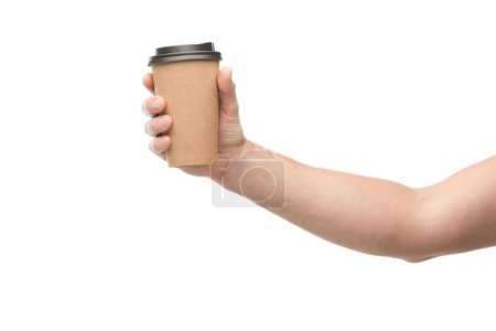 cropped view of man holding paper cup isolated on white