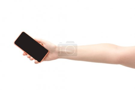 cropped view of woman holding smartphone isolated on white