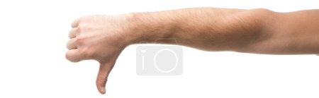 Photo pour Photo panoramique de l'homme montrant l'aversion isolée sur blanc - image libre de droit
